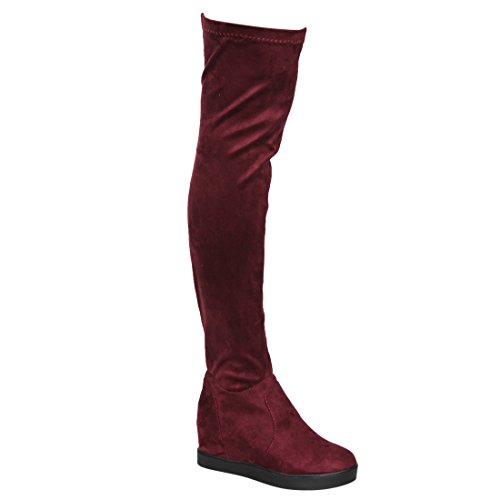 BESTON EI21 Women's Drawstring Hidden Wedge Stretchy Snug Fit Over The Knee Boot, Color Wine, Size:7.5 by BESTON