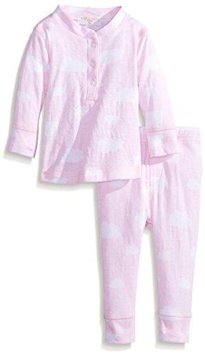 Rosie Pope Baby-Girls Newborn Girls Cloud Printed Henley Set, Pink, 6 Months