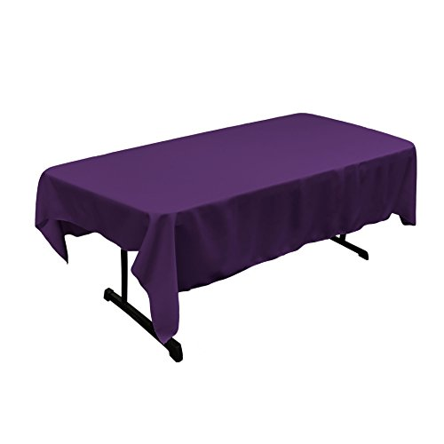 (LA Linen Polyester Poplin Rectangular Tablecloth, 60 x 84 Purple)