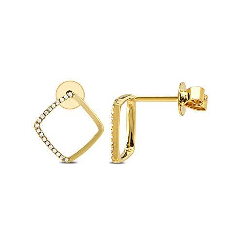 DIAMOND COUTURE 14K Yellow Gold 0.10 Carat Diamond Shaped Earring for Women, I-J Color, I1-I2 Clarity Cut Micro Pave Diamond Hoop