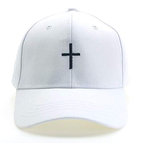 Cross Embroidered Dad Hat Adjustable Structured Cotton Baseball Cap (Style 1 White)