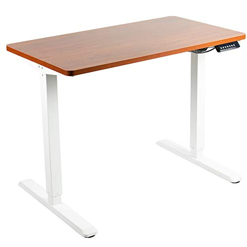 VIVO Electric Height Adjustable 43 x 24 inch Stand Up Desk, Dark Walnut Solid One-Piece Table Top, White Frame, Standing Workstation with Memory Preset Controller, DESK-KIT-1W4D