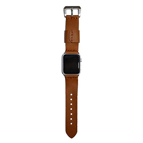 (Cognac Leather Watch Band 38mm, 40mm, 42mm, 44mm for Apple Watch/Watch Accessories work with Apple Watch, Leather Watch Strap is compatible with Apple Watch, Watch Band Leather for iWatch)