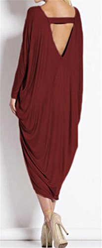 Claret Sleeve Scoop Womens Irregular Backless Dress Neck Casual Long Cruiize wv1qzIx7