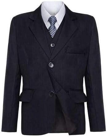 Waniwarehouse Traje de novio para niños, color azul marino, traje de boda negro, traje de chico de página gris, traje formal, de 1 a 12 años