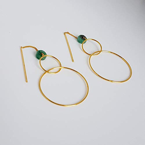 Genuine Colombian Emerald - Two Circles Earrings. Handmade Yellow Gold Plated Drop Earrings. Raw Colombian Emerald and Opal Earrings by D'Mundo Accesorios. Genuine Raw Colombian Emeralds with Calcite and Pyrite.