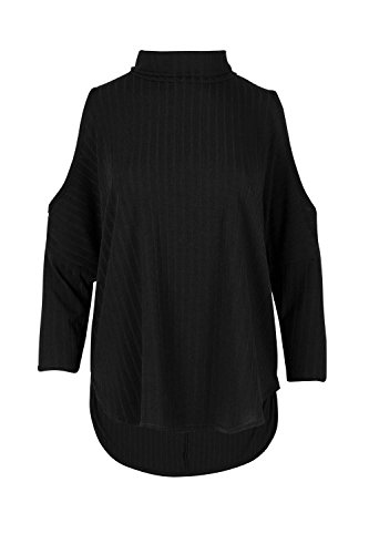 Oops Outlet Womens Ladies Ribbed Knit Cold Cut Shoulder Cowl High Turtle Neck High Low Top