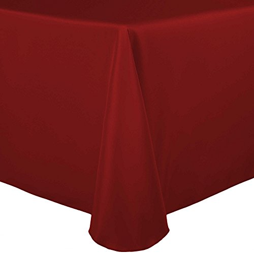 Ultimate Textile (10 Pack) 70 x 104-Inch Oval Polyester Linen Tablecloth - for Home Dining Tables, Cherry Red by Ultimate Textile