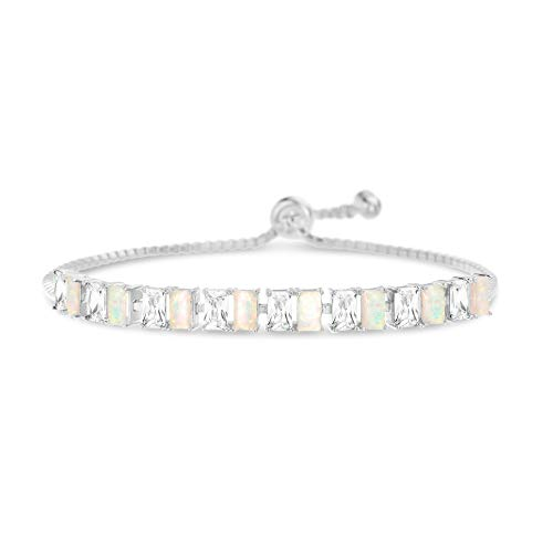 INSPIRED BY YOU. Radiant Cut Prong Set Laboratory Created Opal and Cubic Zirconia Adjustable Tennis Bracelet for Women in Rhodium Plated Sterling Silver (White) - Radiant Bracelet Set
