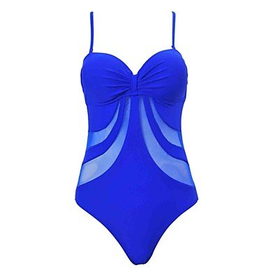 De las mujeres Una Pieza-Con LazoHalter-Acrílico Espándex Royal Blue