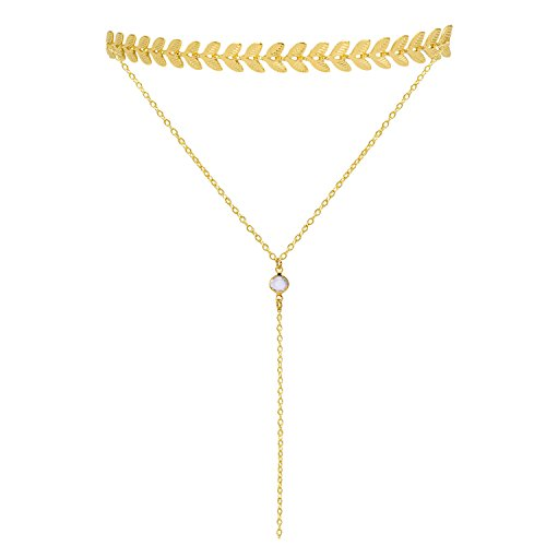 layered gold metal choker necklace with tassel pendant laria