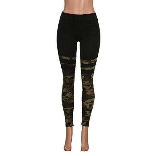 Pantalones Yoga Mujeres, ❤️Xinantime Pantalones deportivos de mujer Camo Stitching Leggings de fitness de yoga Running Stretch Trousers, Tamaño S-XL: ...