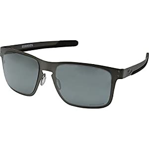 Oakley Holbrook Metal Polarized Iridium Square Sunglasses, Matte Gunmetal w/Prizm Black Polarized, 55 mm