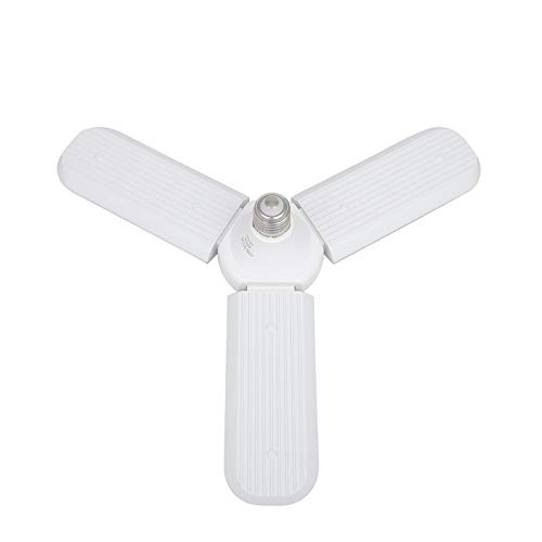 E27 Foldable Garage Light, 45W Three-Leaf Fan Blade LED Light Bulb, Super Bright Angle Adjustable Home Ceiling Lights, AC95-265V, Cool White