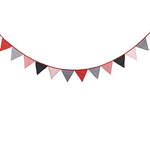 Ladybugs Banner Flag (10 Feet Red Black Polka Dot Gingham Fabric Bunting Banner for Wedding Garland Ladybug Baby Shower Birthday Party Decoration Nursery Hanging Pennant)