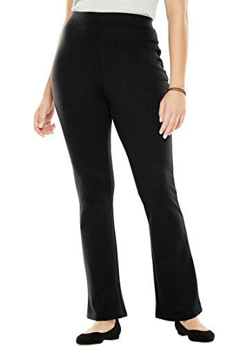 Women's Plus Size Tall Pants, Boot-Cut In Ponte Knit Black,18 T (Pants Tall)