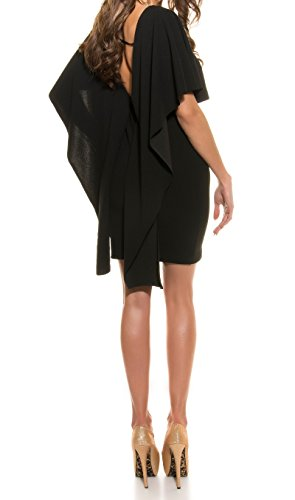 robe de soirée fête courte moulante drapé dos nu noire
