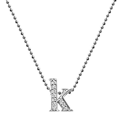 Alex Woo Collier avec Pendentif Or Blanc 14carats (585/1000) Ronde Diamant Blanc Femme 40cm