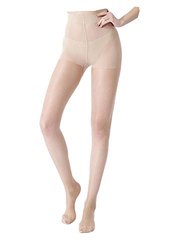 Milila 4 Pairs Women's Comfort Reinforced Toe Silk High Waist Pantyhose Black Nude