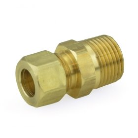 3/8'' OD No Tube Stop x 3/8'' MIP Threaded Compression Adapter, Lead-Free - Pack of 10