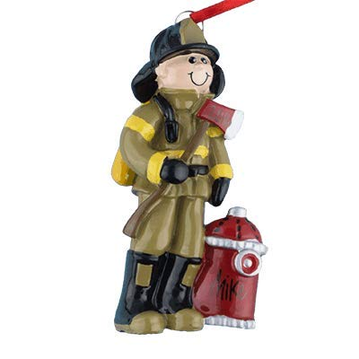 Fireman Personalized Ornament - (Unique Christmas Tree Ornament - Classic Decor for A Holiday Party - Custom Decorations for Family Kids Baby Military Sports Or Pets)