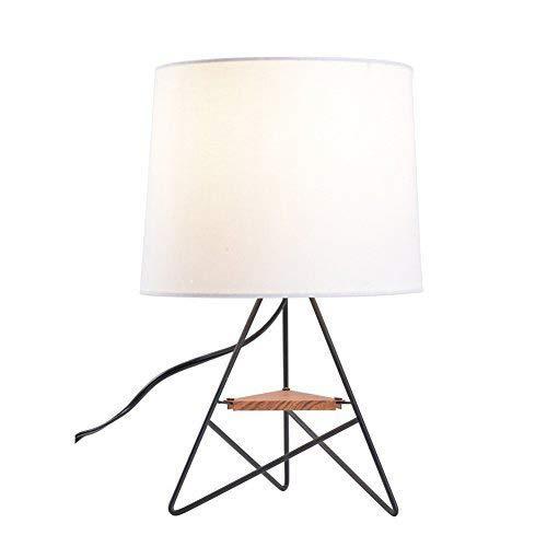 Lampworks Table Lamp Modern Design Bedside Lamp Wooden Partition Metal Bracket Desk Lamp Industrial Light for Bedrooms Living Room(Bulb Not Included)