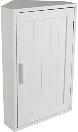HOME Wooden Corner Bathroom Cabinet - White