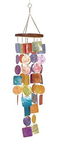 Urban Trends Colorful Capiz Glass Wind Chimes