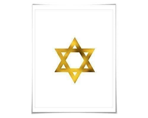 Gold Star Wall Decor: Amazon.com: Star Of David Gold Foil Art Print. 7 Foil