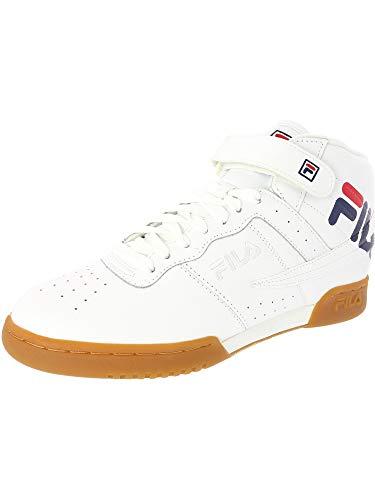 (Fila Men's F-13 Logo Mid-Top Leather Fashion Sneaker, White/Navy/Red, Size 8.0)