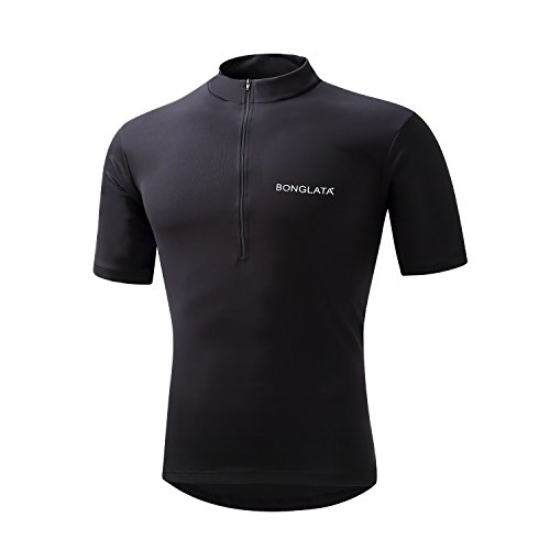"Spotti Basics Men's Short Sleeve Cycling Jersey - Bike Biking Shirt (Black, Chest 42-44"" - XL)"