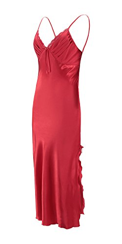 EPLAZA Women Plain Satin Chemise Long Slip Night Dress Gown Sleepwear Loungewear (Medium, red)