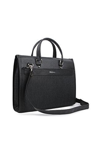Genova Leather - Mens Hybrid Synthetic Leather Laptop Briefcases (Black)