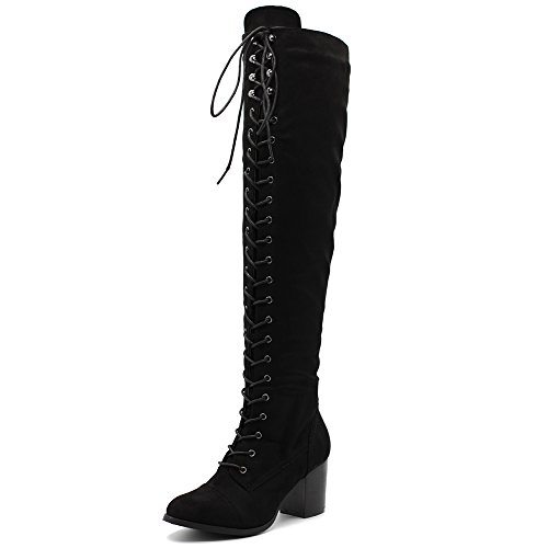 Ollio Women Shoe Lace-up Faux Suede Knee High Heel Zip Up Long Boots TWB09(9 B(M) US, Black)