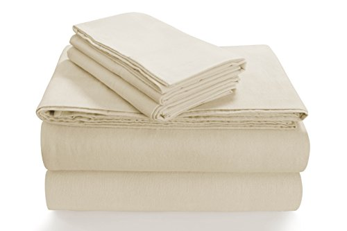 Tribeca Living SOLFL170SSQUIV Solid 5-Ounce Flannel Extra Deep Pocket Sheet Set Queen Ivory, Deep Pocket Flannel Sheets