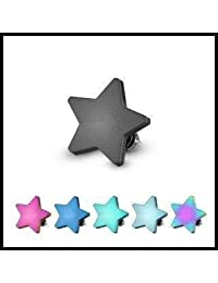 Titanium Anodized Over 316l Surgical Steel Internally Threaded Dermal Top Flat 14g Star Rainbow