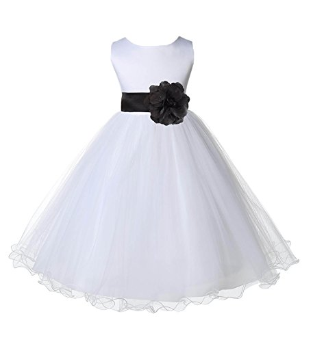 White Tulle Rattail Edge Formal Flower Girl Dresses Bridal Dresses 829S 2 by ekidsbridal