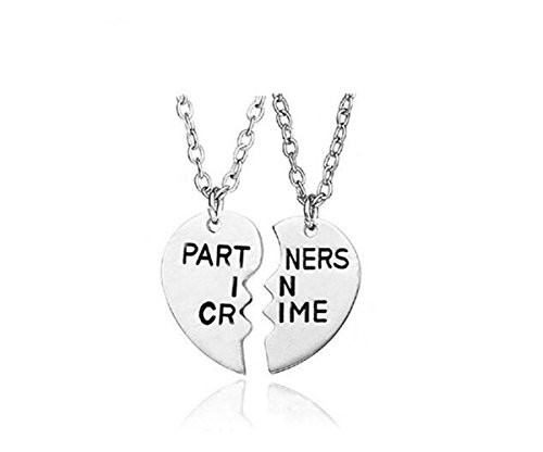Fusicase Partner in Crime Love Heart Pendent Friendship Metal Necklaces Gift for Friends