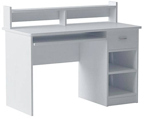 White Storage Desk (OneSpace Essential Computer Desk, Hutch with Pull-Out Keyboard, White)