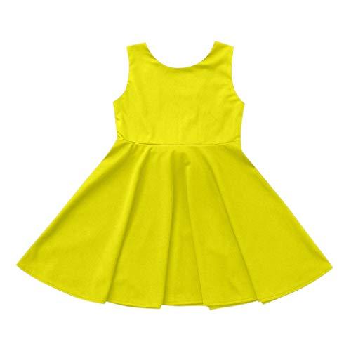 Sunhusing Toddler Children Girls Sleeveless Solid Color Round Neck Wavy Tim Bowknot Elegant Princess Dress Yellow