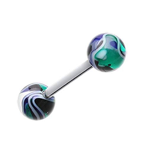 Covet Jewelry Marble Swirl Acrylic Top Barbell Tongue Ring (Blue/Green)