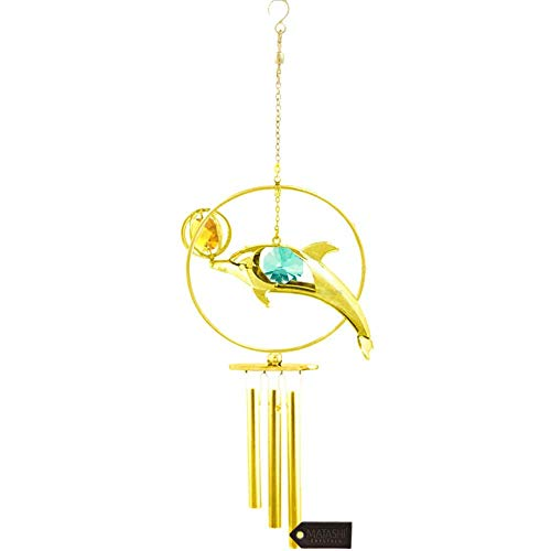 Matashi 24K Gold Plated Crystal Studded Dolphin with Ball Decorative Wind Chimes | Best Love Gifts for Girlfriend, Boyfriend, Wife, Mother Women on Valentine's Day Mother's Day Anniversary Birthday