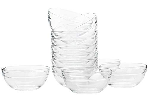 Lawei Set of 12 Glass Bowls - 3.5 inch Mini Transparent Glass Salad Bowl for Kitchen Prep, Dessert, Dips, Candy Dishes