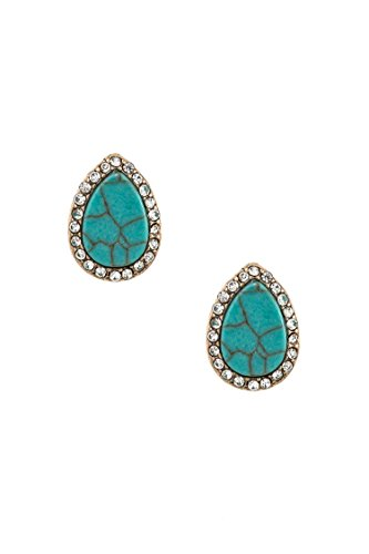 Trendy Fashion Jewelry Rhinestone Framed Teardrop Faux Gem Post Earring By Fashion Destination | (Diamond Shaped Turquoise Post Earrings)