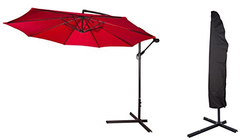 10' Deluxe Polyester Offset Patio Umbrella with Umbrella Cover - by Trademark Innovations (Red)