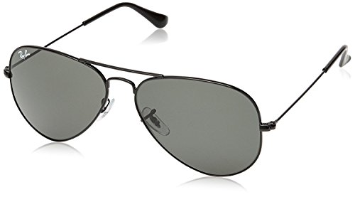 Ray-Ban RB 3025 L2823 58 Unisex Aviator Large Black Metal Green G-15 Lens - Bans Black Aviator Ray