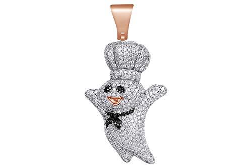 Christmas Sale 2 Cttw Black & White Natural Diamond Hip Hop Jewelry Pillsbury Doughboy Charm Pendant In Sterling ()