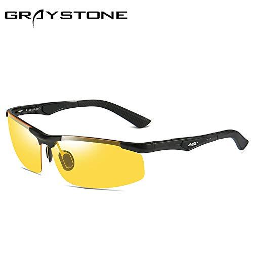 Gafas vision de Black de Deportivas night film polarizadas frame sunglasses Montar Noche Sol nbsp;Día nbsp;Aluminio Hombre Plata Deportivas Gafas Mjia Magnesio Gafas y conducción de gT5wqx