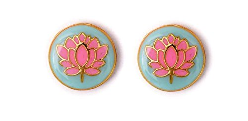 TUZECH Designer Damascus Silver Plated Worked Smart Cufflinks (23, (Lotus Cufflinks)
