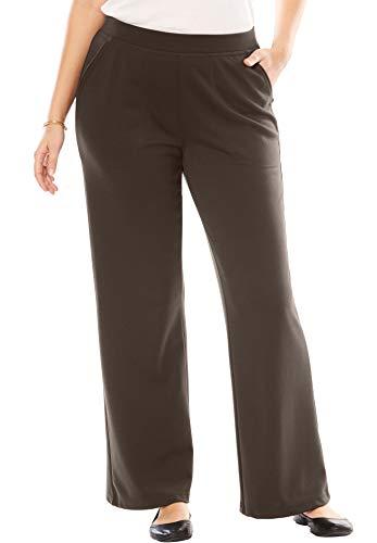 Woman Within Women's Plus Size Petite Wide Leg Ponte Knit Pant - Chocolate, 16 WP